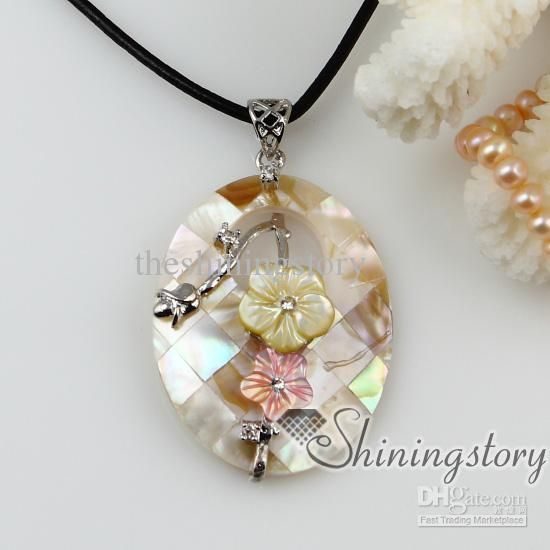 Flower Patchwork Pearl Shell Necklace Jewelry Mother of Pendant Necklaces | Buy Wholesale On Line Direct from China