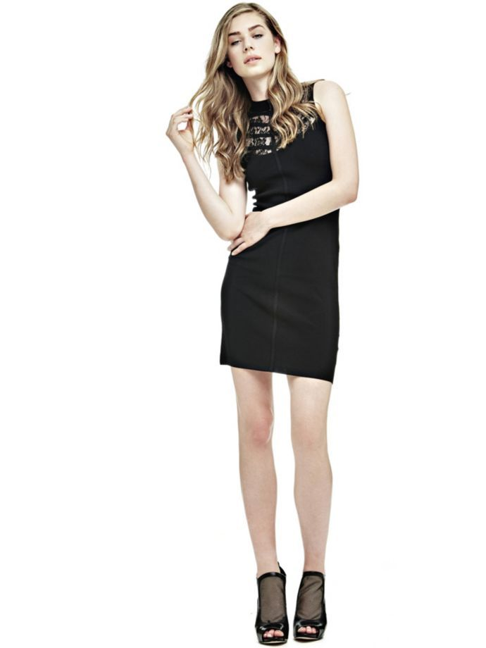 EUR119.90$  Watch now - http://vilhg.justgood.pw/vig/item.php?t=humlo542547 - DRESS WITH LACE INSERT AT THE NECK