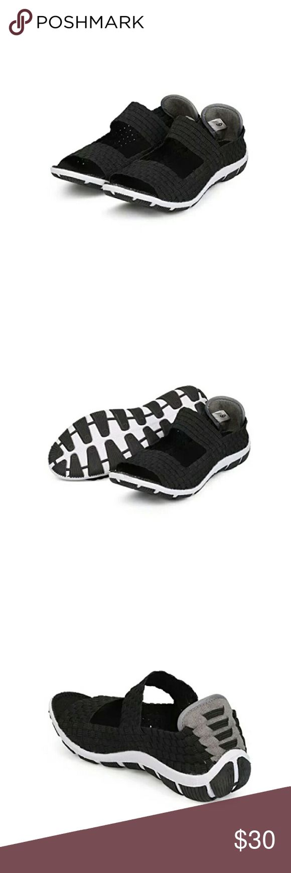 """🆕Nature Breeze Women Woven Sneakers Designed with metallic elastic Lycra upper,open toe, mary jane strap at vamp, padded backpanel, rubber outside, special ergonomic design for extra comfort.  Material:Lycra (man-made) Measurement (tested Sz:9;approx) Heel:1"""", Toe:2.25"""" Sole/padding:Traded non-skid sole/cushioned foot bed with padded. Brand new never been worn. Nature Breeze  Shoes Sneakers"""