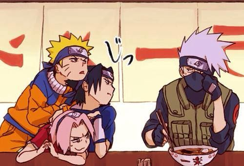 <3 Kakashi, Sasuke, Sakura & Naruto (Team Kakashi / Team 7) what's behind the mask....buck teeth???