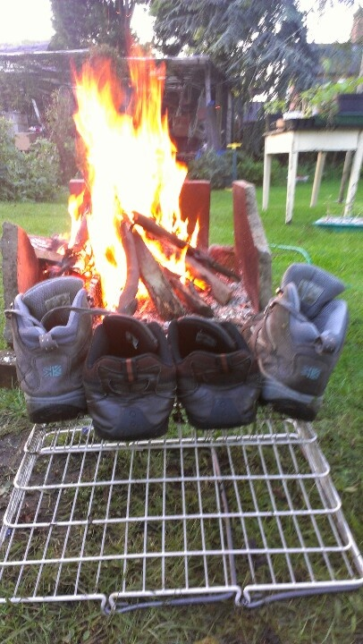 Camping...good way to dry our shoes. Yup Kendi