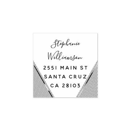 Chic Geometric Wedding Return Address Rubber Stamp - calligraphy gifts custom personalize diy create your own
