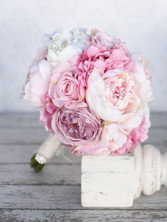 Silk Bride Bouquet Peony Pink Cream Purple Rhinestones Pearls Shabby Chic Wedding Decor via Etsy