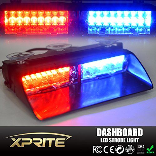 Xprite Red & Blue 16 LED High Intensity LED Law Enforcement Emergency Hazard Warning Strobe Lights For Interior Roof / Dash / Windshield With Suction Cups. For product info go to:  https://www.caraccessoriesonlinemarket.com/xprite-red-blue-16-led-high-intensity-led-law-enforcement-emergency-hazard-warning-strobe-lights-for-interior-roof-dash-windshield-with-suction-cups/