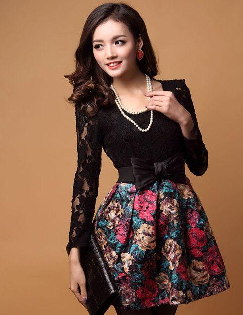 Elegant Lady Bowknot Lace Splicing Woolen Dress_Long Sleeves Dress_Dresses_Wholesalekingdom.net