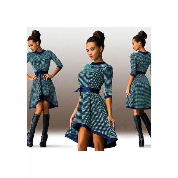 Green Polka Dot Irregular Bow Round Neck Fashion Midi Dress