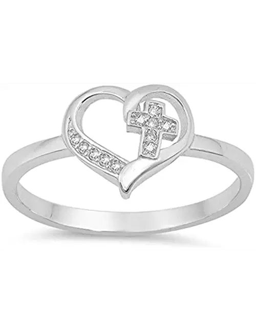 Sterling Silver Simple Cross Heart CZ Promise Purity Ring Sizes 4-10