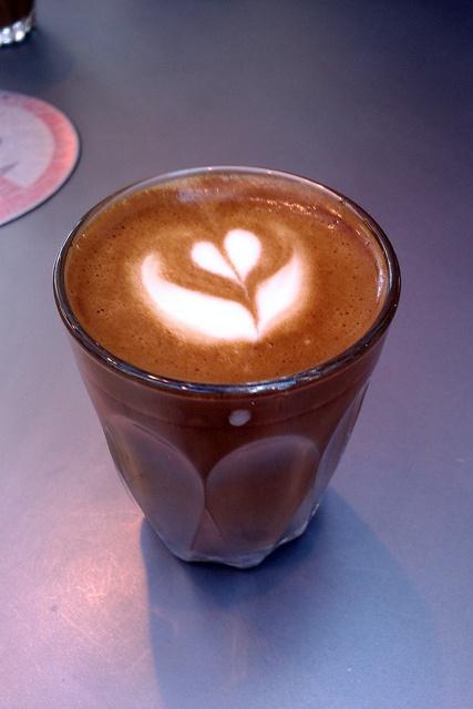 a 'Gibraltar' double espresso, hot milk & foam. Kind of a mini-latte, or a tall macchiato. Also known as a 'piccolo' in Australia. From @Opposite Cafe in Victoria Quarter, Leeds