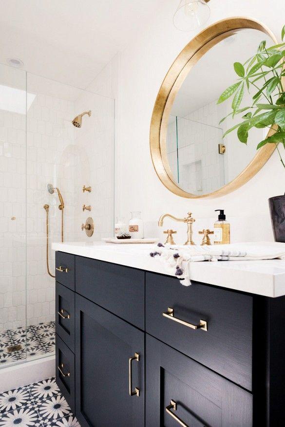Tile print, black cabinets, gold details