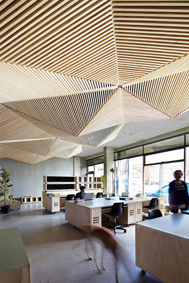 Undulating feature ceiling at Assemble's Melbourne Office.