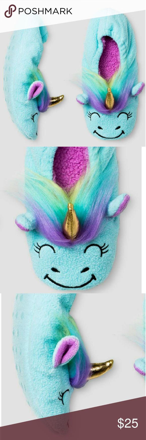 Unicorn slippers toddler size 7-9 Never worn new comes with tag just not attached baby blue unicorns with rainbow hair and gold horn cat and Jack Shoes Slippers