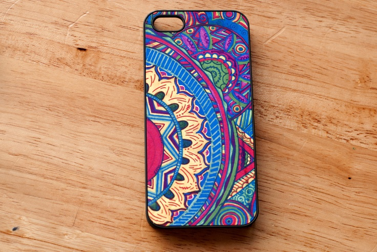 Rigid case with hand drawn and printed design on the back for Design case
