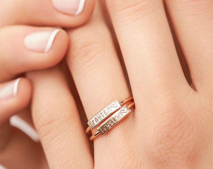 Dainty Personalized Ring - Gold Engraved Ring - Custom Hand Stamped Ring - Custom Name Ring, Mom Ring, Mother's Gift, Custom Initial Ring