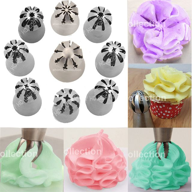 9pcs Set Kitchen Russian Sphere Shaped Rose Flower Icing Piping Nozzles Cake Decoration Pastry Tips Too Baking Accessories Cake Decorating Icing Piping Nozzles
