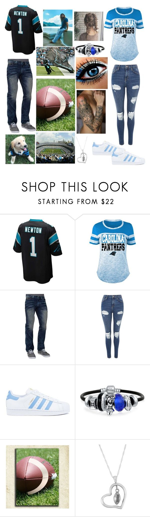 """""""Caroline Panthers game!🏈"""" by amalik787 ❤ liked on Polyvore featuring NIKE, 5th & Ocean, Affliction, Topshop, adidas, Bling Jewelry and Dayna U"""