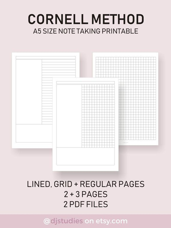 Cornell Method Note Taking Pages Lined And Grid Standard Pages