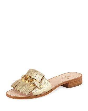 Kate Spade Brie Metallic Chain Flat Sandal, Gold