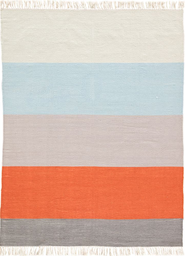 The Desert Swane area rug introduces classic Southwestern style to modern homes. Constructed of weather-resistant polyester, this hand-loomed flatweave boasts incredible durability for both indoor and outdoor use. The bold stripe design showcases a contemporary gray, orange, blue, and white colorway, accented with knotted fringe for added texture and charm.
