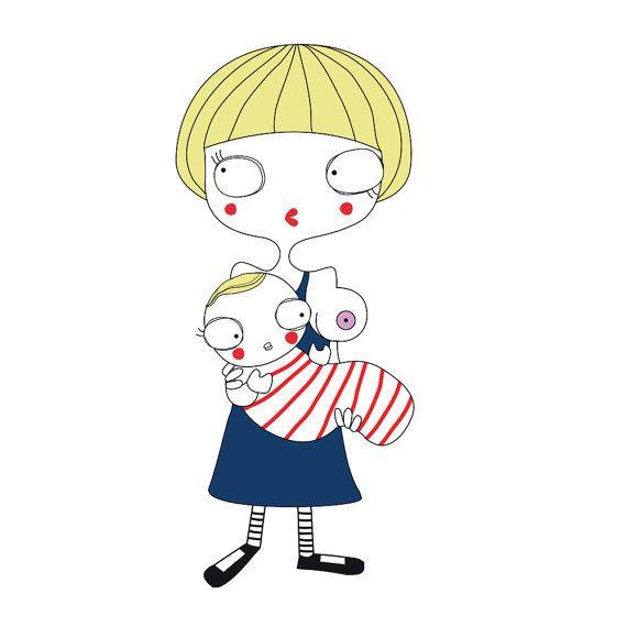 CUSTOM PORTRAIT new mother  new baby illustration   por KoCcos