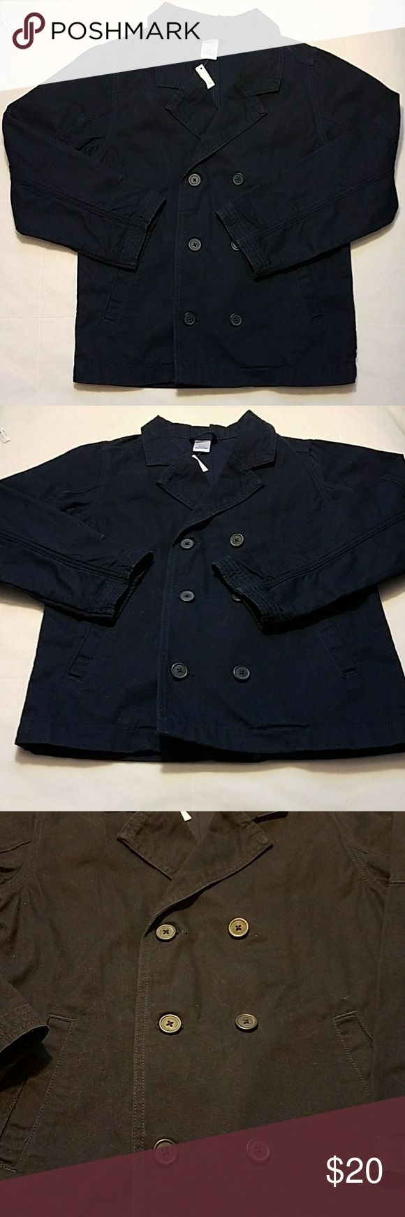 GYMBOREE Girl Trench Coat Jacket, Navy blue M 7_8 GYMBOREE TRENCH COAT JACKET Light Spring Jacket with no lining Navy blue color Size M (7_8) Front Side pockets Double breasted Button closure at Front 100 % COTTON  Machine washable  New with Tags Gymboree Jackets & Coats