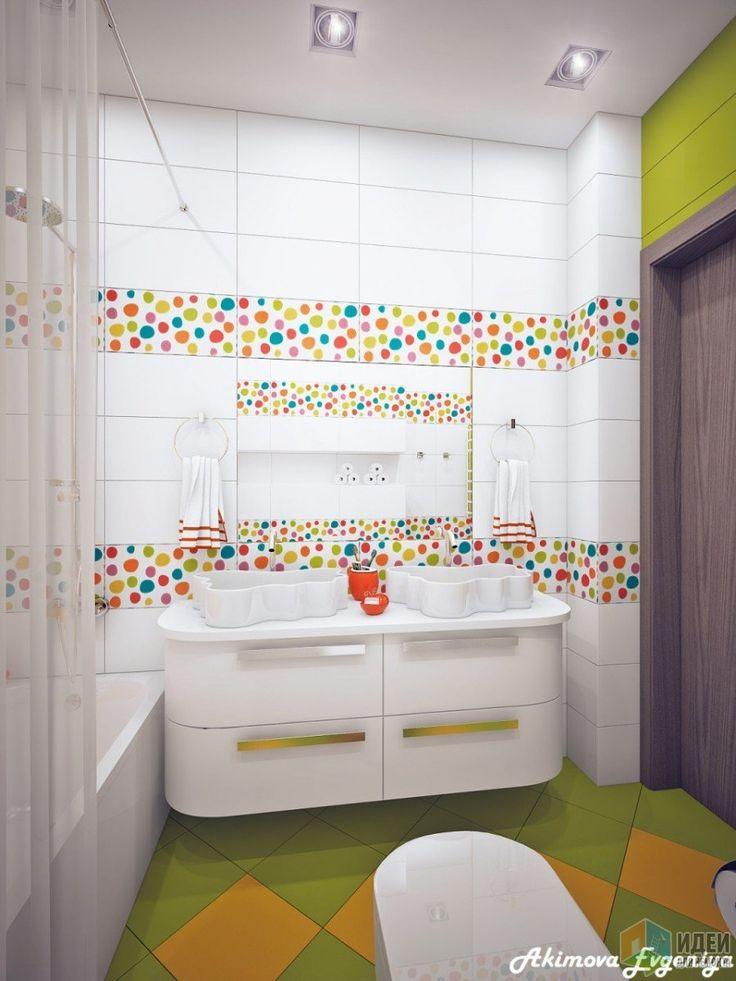 Детская зона в частном доме, яркая детская, детская ванная комната, игровая комната для ребенка, дизайнер Евгения Акимова / Идеи для ремонта