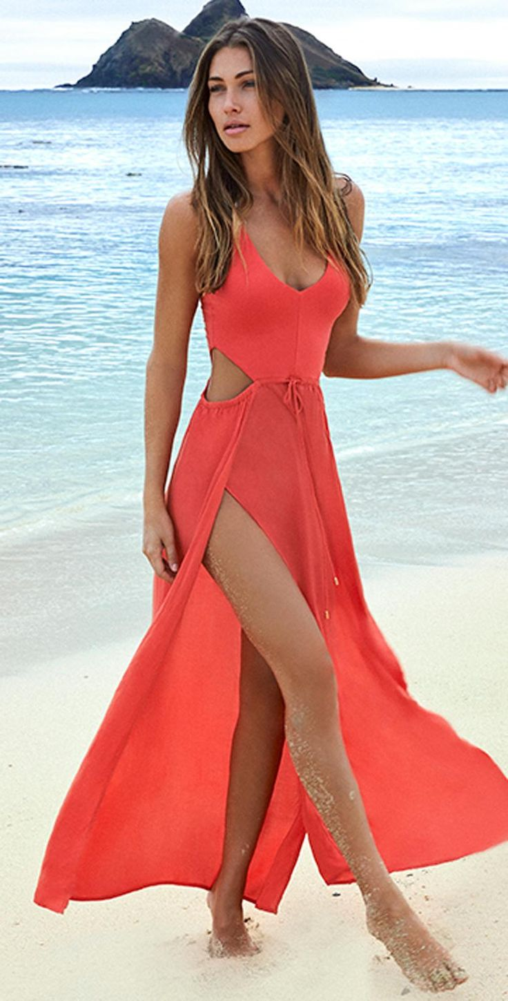 Wonderwall Cutout Red Coral Maxi Dress. Available at koogal.com So beautiful #love