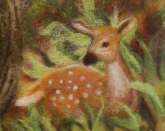 Needle Felted Wool Painting Sunset by syodercrafts on Etsy