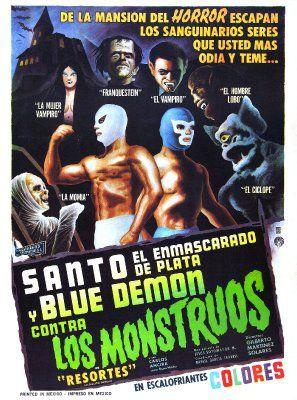 Santo and Blue Demon vs. the Monsters (Santo el enmascarado de plata y Blue Demon contra los monstruos) (1970, Mexico)