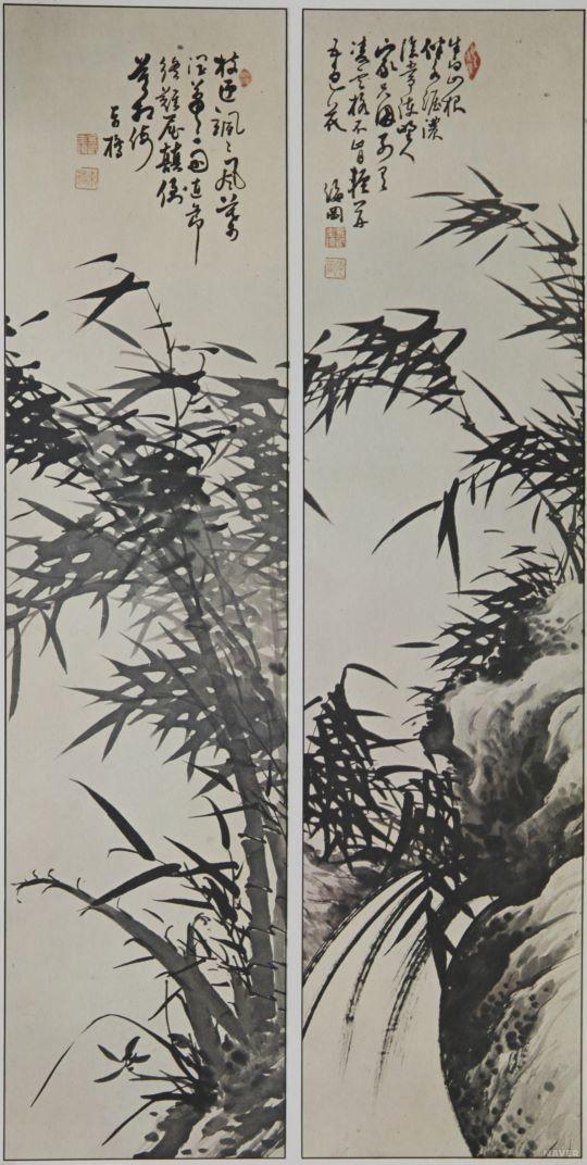 해강 김규진 (1868~1933), 묵죽도, 제작연도 - 19세기, 수묵화, 지본수묵: 이 작품은 문기(文氣) 짙은 죽도(竹圖)로서 선비의 청아함과 고고함을 잘 표현하고 있다.