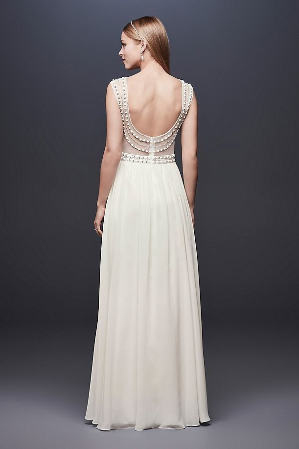 Beaded Sheath Wedding Dress With Illusion Mesh David S Bridal Fitted Lace Wedding Dress Illusion Sleeve Wedding Dress Beach Wedding Dress
