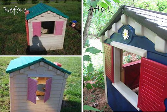 Play house redo! Want to do this.: Plastic Playhouses, Kids Summer Fun, Apartment Therapy, Outdoor, Diy Kids Playhouses, Home Makeovers, Little Tikes Playhouses, Plays Houses, Playhouses Makeovers