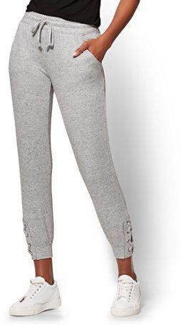 New York & Co. Soho Street - Lace-Up Slim Jogger Pant - Heather Grey