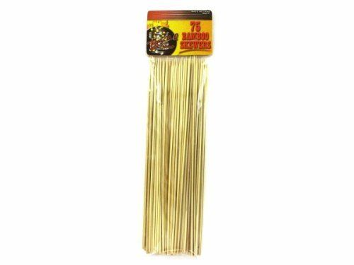 72 Packs of Barbecue bamboo skewers by Bulk Buys. $74.52. Make healthy food fun to eat by making kabobs out of it. Simply thread chunks of meat, vegetables and other items onto the skewers and place on the barbecue for a fun and healthy meal. Skewers can also be used for threading other foods, such as fruit and cheese cubes. Soak skewers in water before using on the barbecue to prevent burning. Pack of 75 skewers.