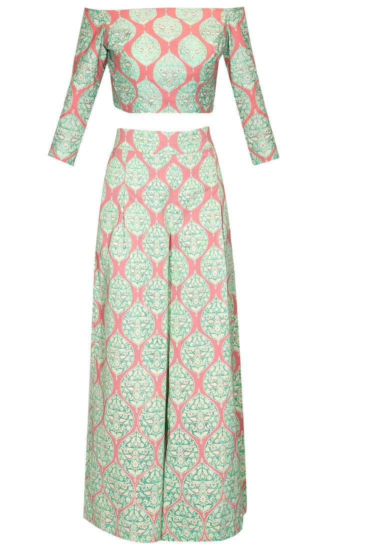 Mint and coral chanderi printed crop top with palazzo pants available only at Pernia's Pop-Up Shop.
