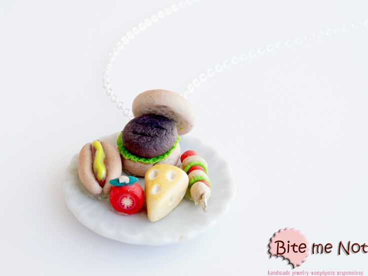 Barbeque necklace -Silver plated long chain necklace!  -Ceramic plate with burger, pork, tomato, letucce skewer, cheese, tomato and hot dog with mustard sauce!