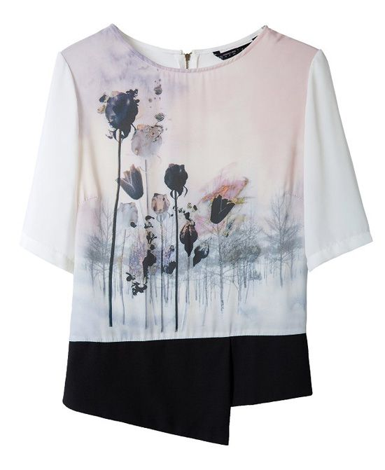 Ink Lotus Print Short Sleeves Splice Blouse