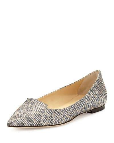 X2G0R Jimmy Choo Attila Snake Print Leather Flat