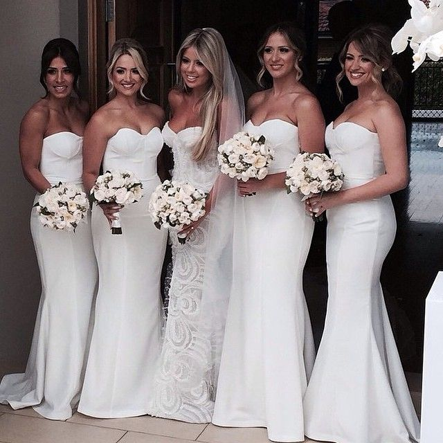 All White Wedding: I Love The All White Look. Let Your Bridesmaids Shine