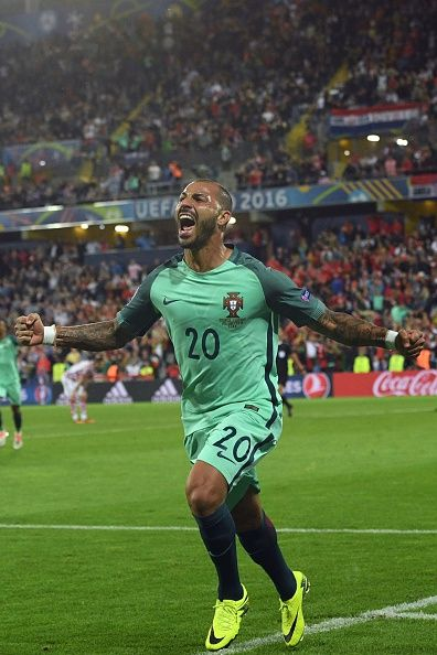 #EURO2016 Portugal's forward Ricardo Quaresma celebrates after scoring during…