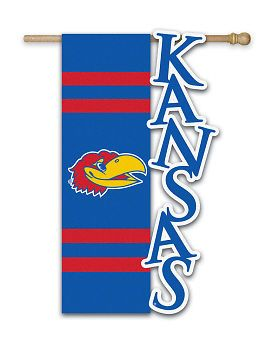 """Kansas Jayhawks 28"""" x 44"""" Applique and Sculpted Flag Visit our store for more: www.theportszoneri.com"""