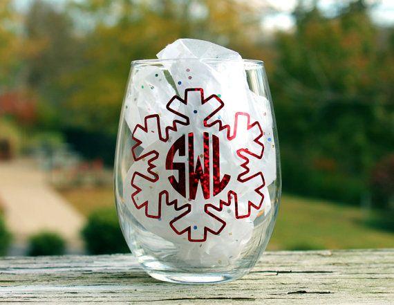 Christmas Snowflake Monogram Wine Glass, Holiday Monogrammed Wine Glasses