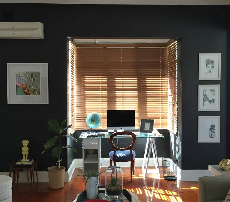 After: My #DecorlandDIY reveal - black walls, wooden blinds
