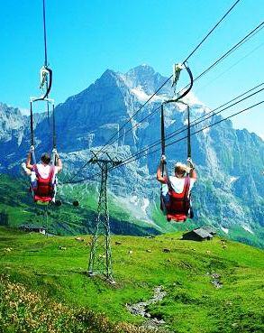 Zip lining   Swiss Alps,Switzerland: