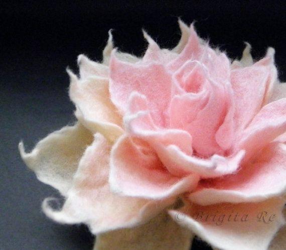 Cream Rose Felt Flower Brooch