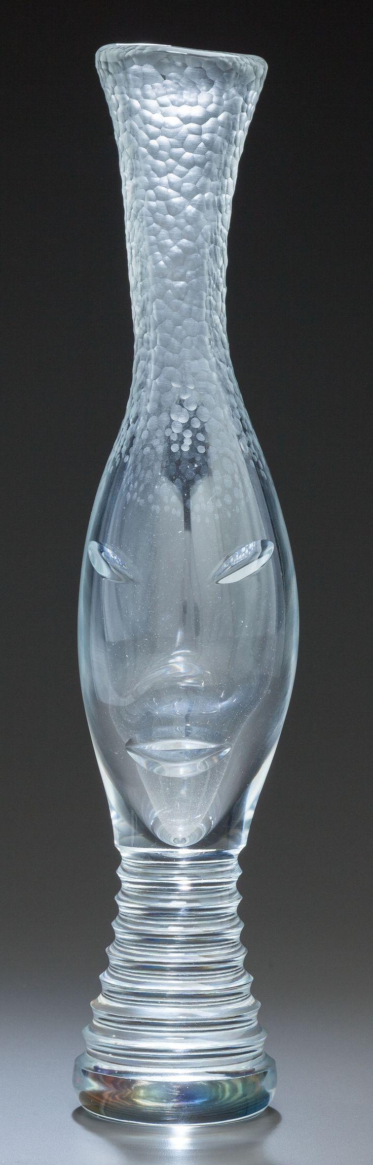 ** Vicke Lindstrand (Swedish, 1904-1983), Orrefors, Engraved Glass Vase.