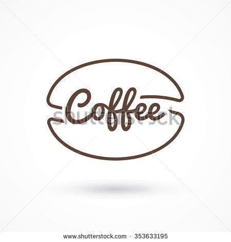 Coffee logo. Inscription coffee inside coffee beans