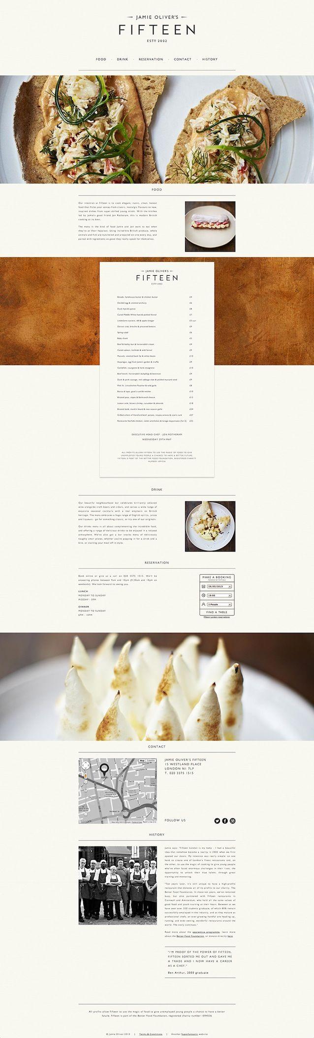 Jamie Oliver's 'Fifteen' website design with parrallax | #website #design #parrallax | http://www.rubbercheese.com/blog