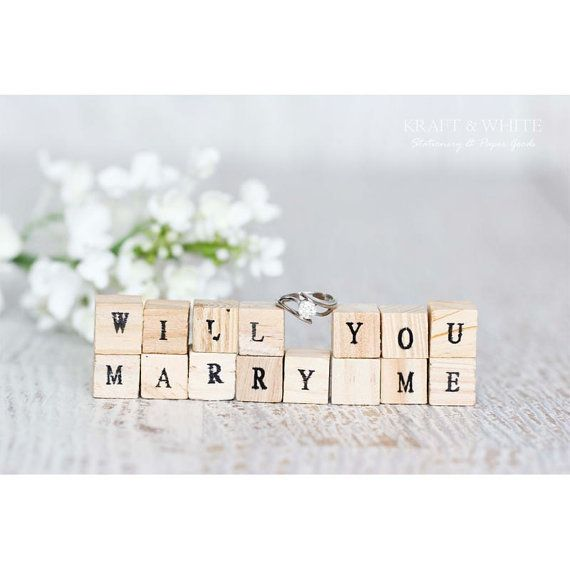 Personalized wood block set will you marry me by KRAFTANDWHITE, $29.00