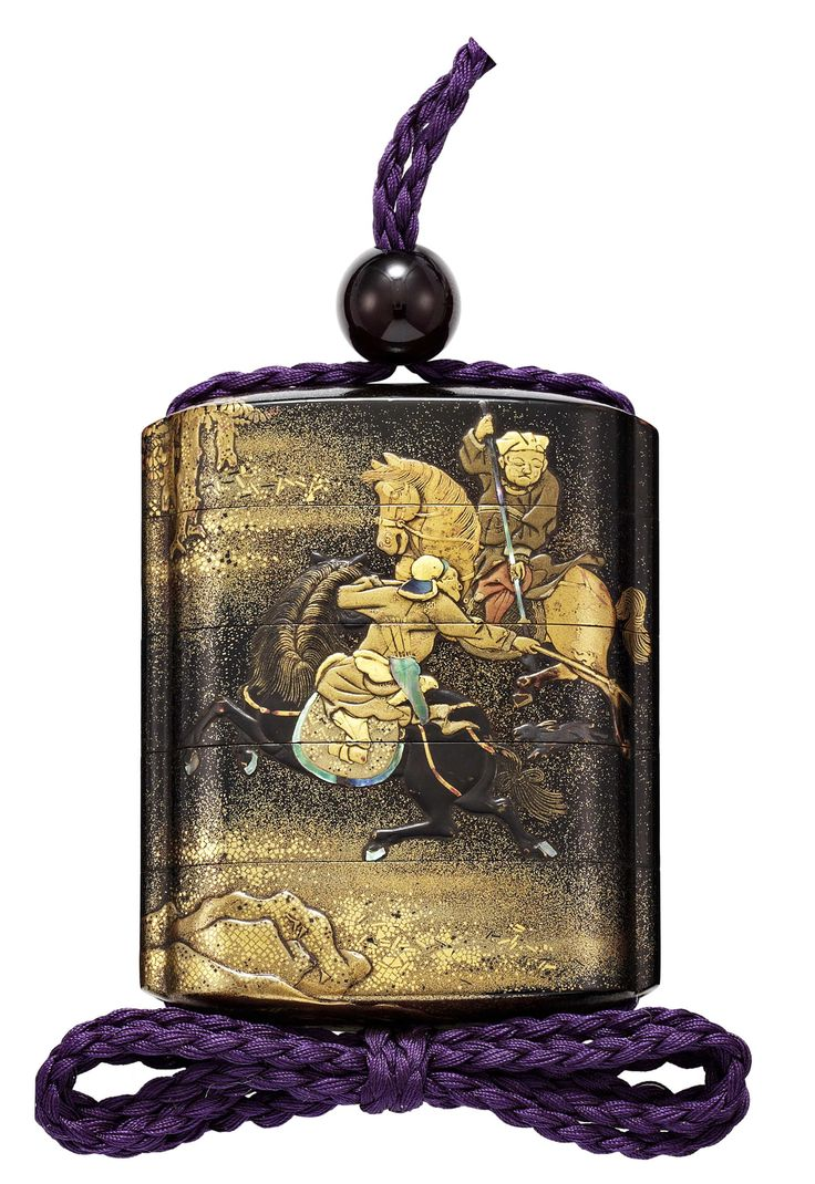 A FOUR-CASE LACQUER INRO, EDO PERIOD (18TH CENTURY). Depicting Mongols hunting game