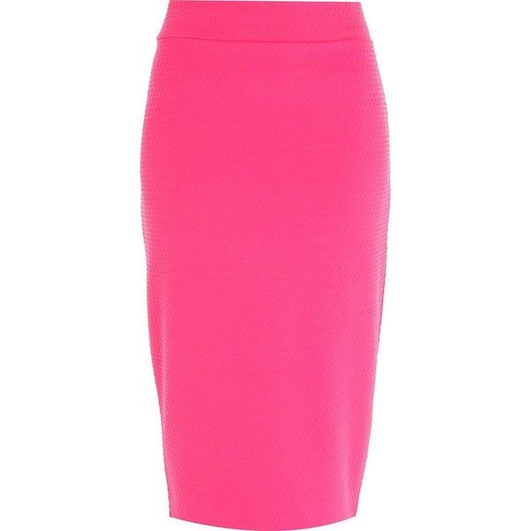 River Island Bright pink textured tube skirt ($10) ❤ liked on Polyvore featuring skirts, sale, bright pink skirt, pink tube skirt, tube skirt, summer skirts and pink skirt